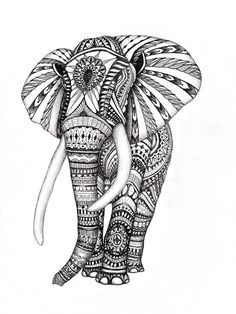 Aztec Elephant Drawing