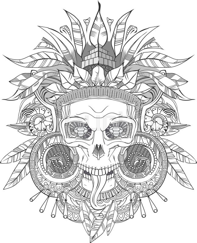 647x800 Black On White Aztec Indian Skull, Vector Illustration Stock