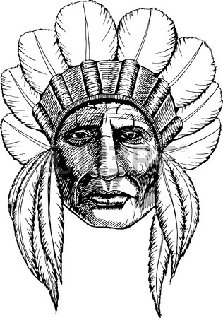 316x450 Man In The Native American Indian Chief. Indian Feather Headdress