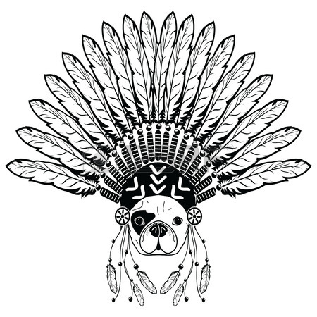450x450 Warrior Style French Bulldog With Tribal Headdress With Plain
