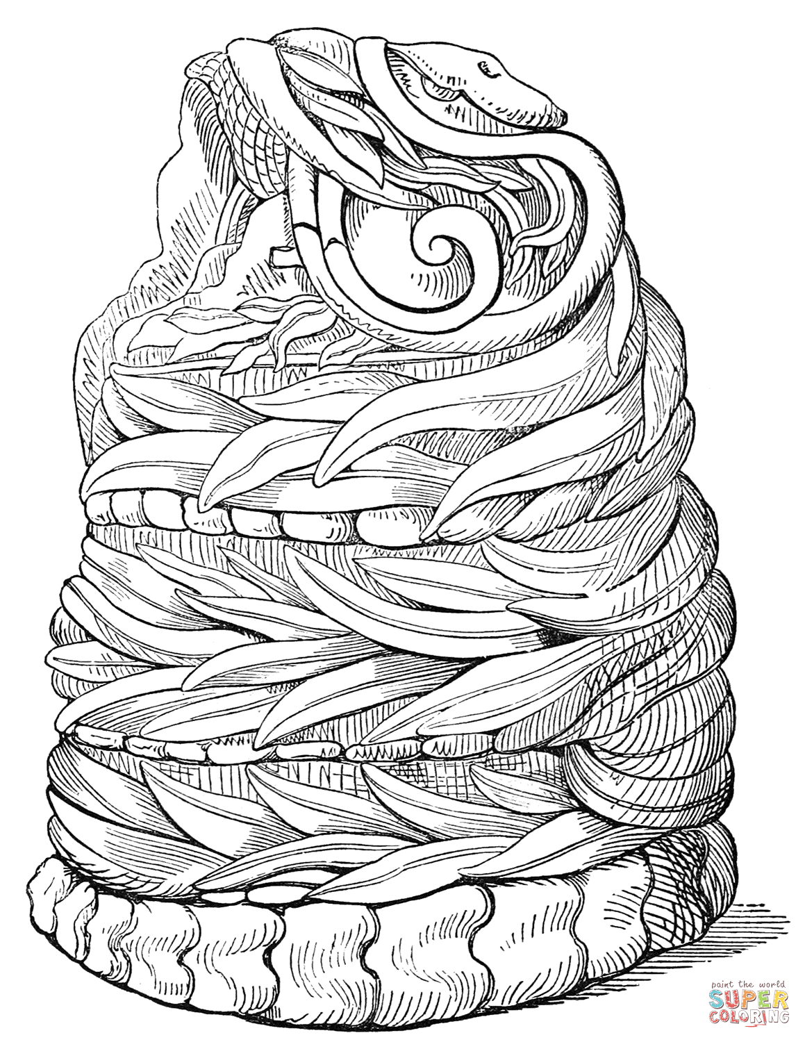1159x1500 Aztec Serpent Figure Coloring Page Free Printable Coloring Pages