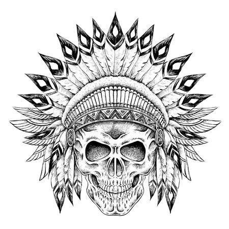 Aztec Skull Drawing