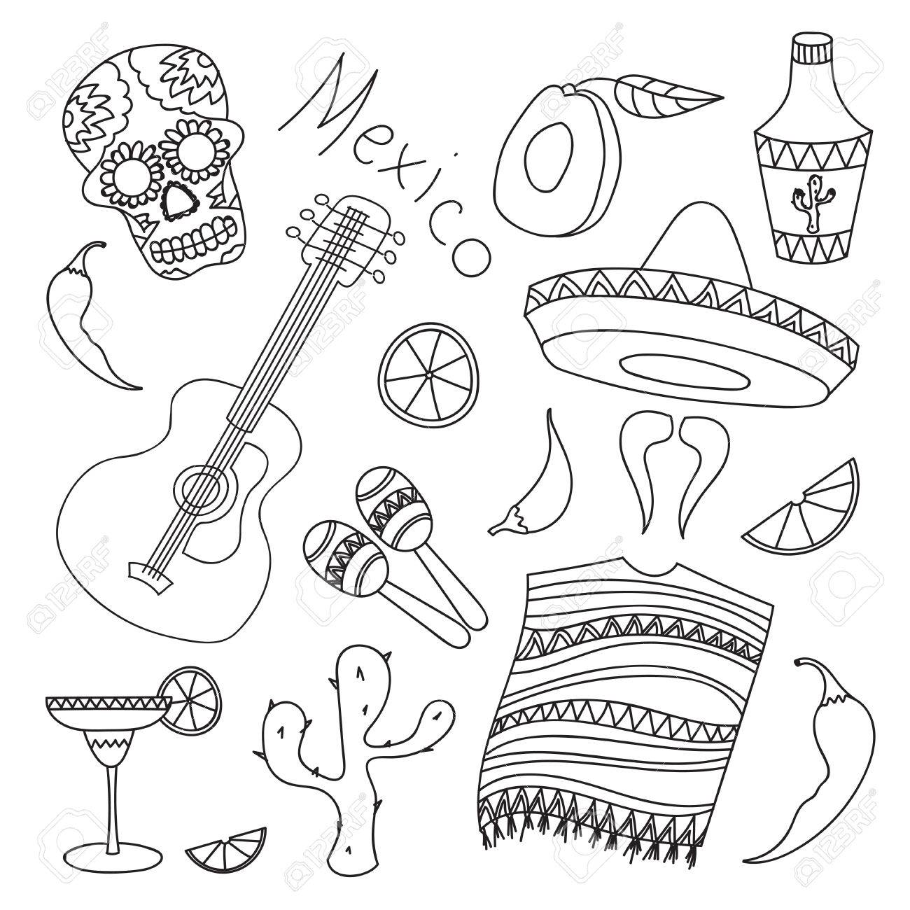 1300x1300 Doodle Vektor Mexico With Hand Drawn Mexican Elements. Guitar