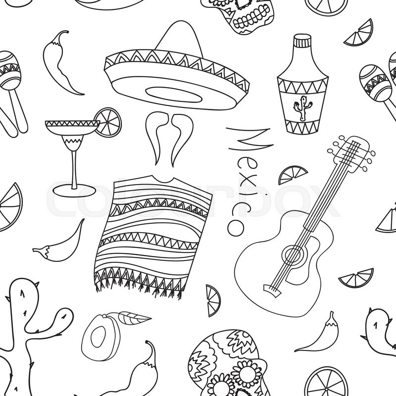 800x800 Doodle Pattern Mexico With Hand Drawn Mexican Elements. Guitar