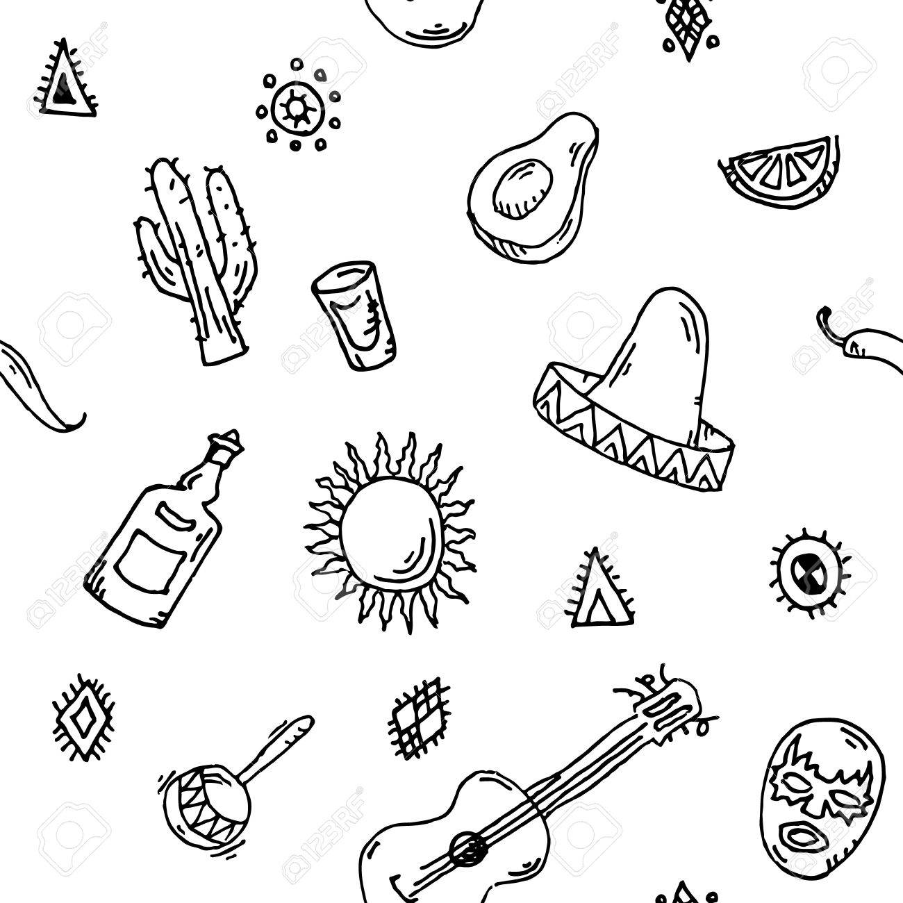 1300x1300 Hand Drawn Seamless Pattern Vector Set Of Mexican Symbols Guitar