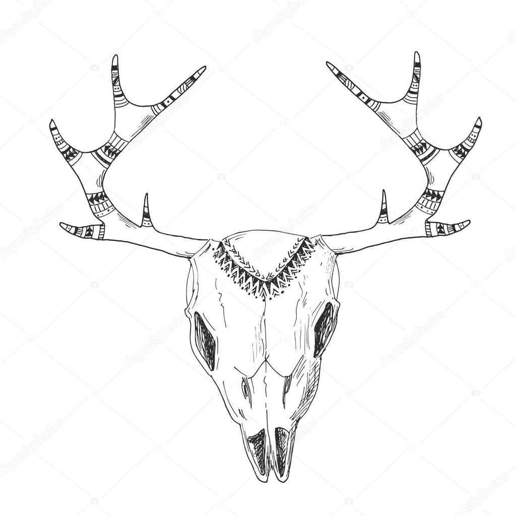 1024x1024 Hand Drawn Deer Skull With Native Ornament Stock Vector