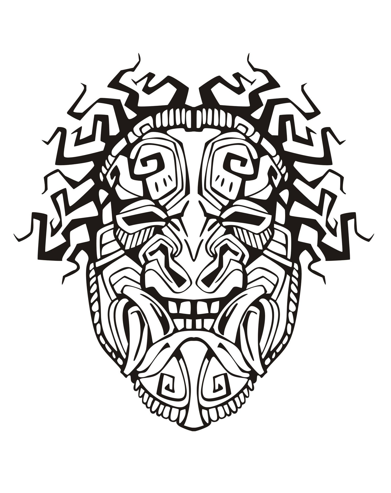 Aztec skull drawing at free for personal for Aztec mask template