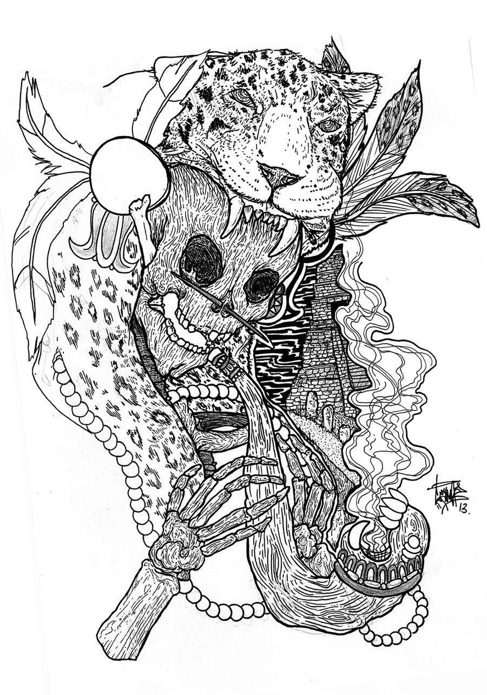 900x1283 Aztec Skull Drawings Drawing Aztec Skulls.
