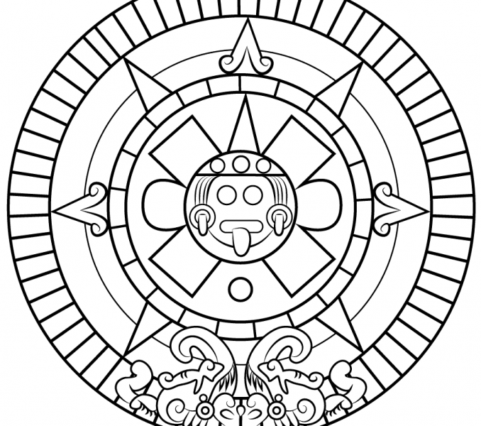 678x600 Aztec Sun Stone For Kids Kids Coloring