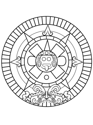 358x480 Aztec Sun Stone Coloring Page Free Printable Coloring Pages
