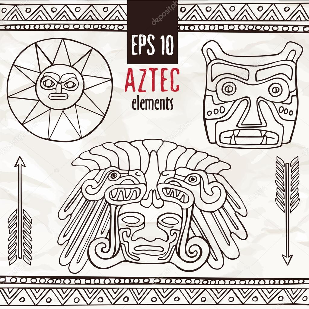 1024x1024 Hand Drawn Aztec Fantastic Graphic Decoration Elements Stock