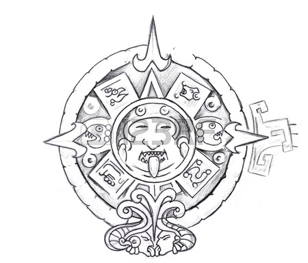 450x384 Tattoo Art, Sketch Of A Aztec Sun Stock Photo, Picture And Royalty