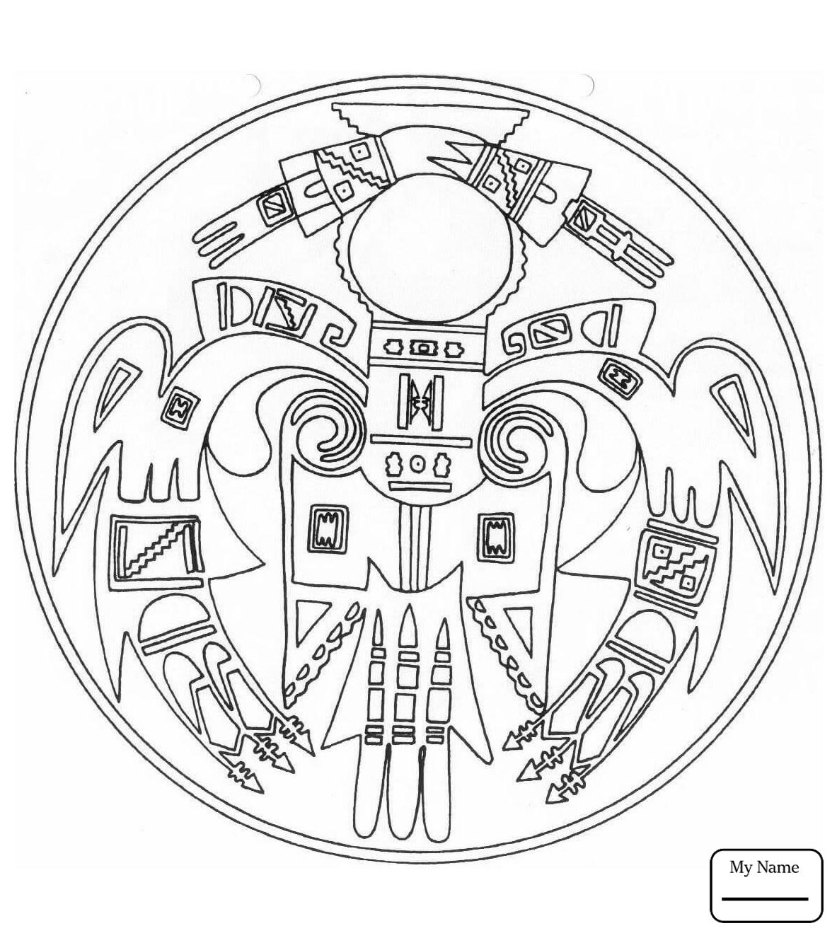 1183x1326 Coloring Pages Native American Mandalas Aztec Sun Stone Arts