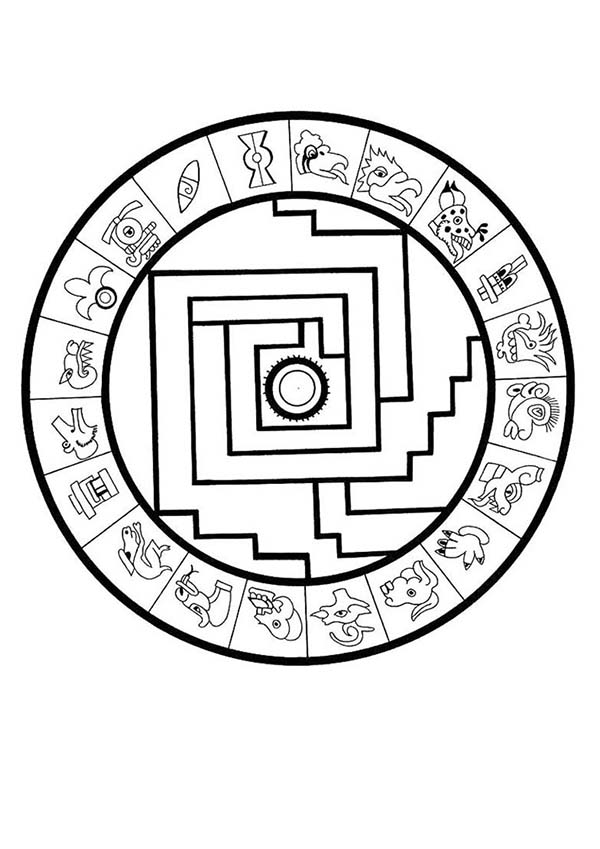 Aztec sun drawing at free for personal for Aztec sun coloring page