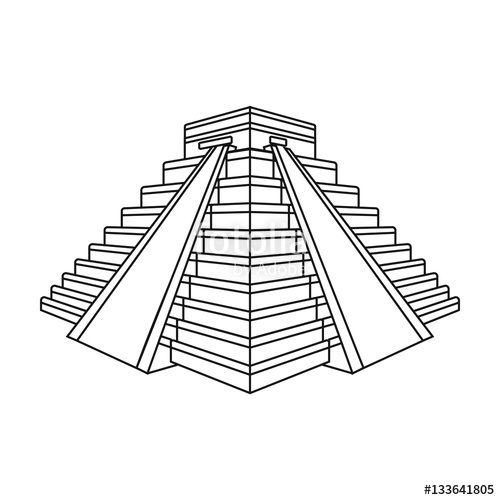 500x500 Chichen Itza Icon In Outline Style Isolated On White Background
