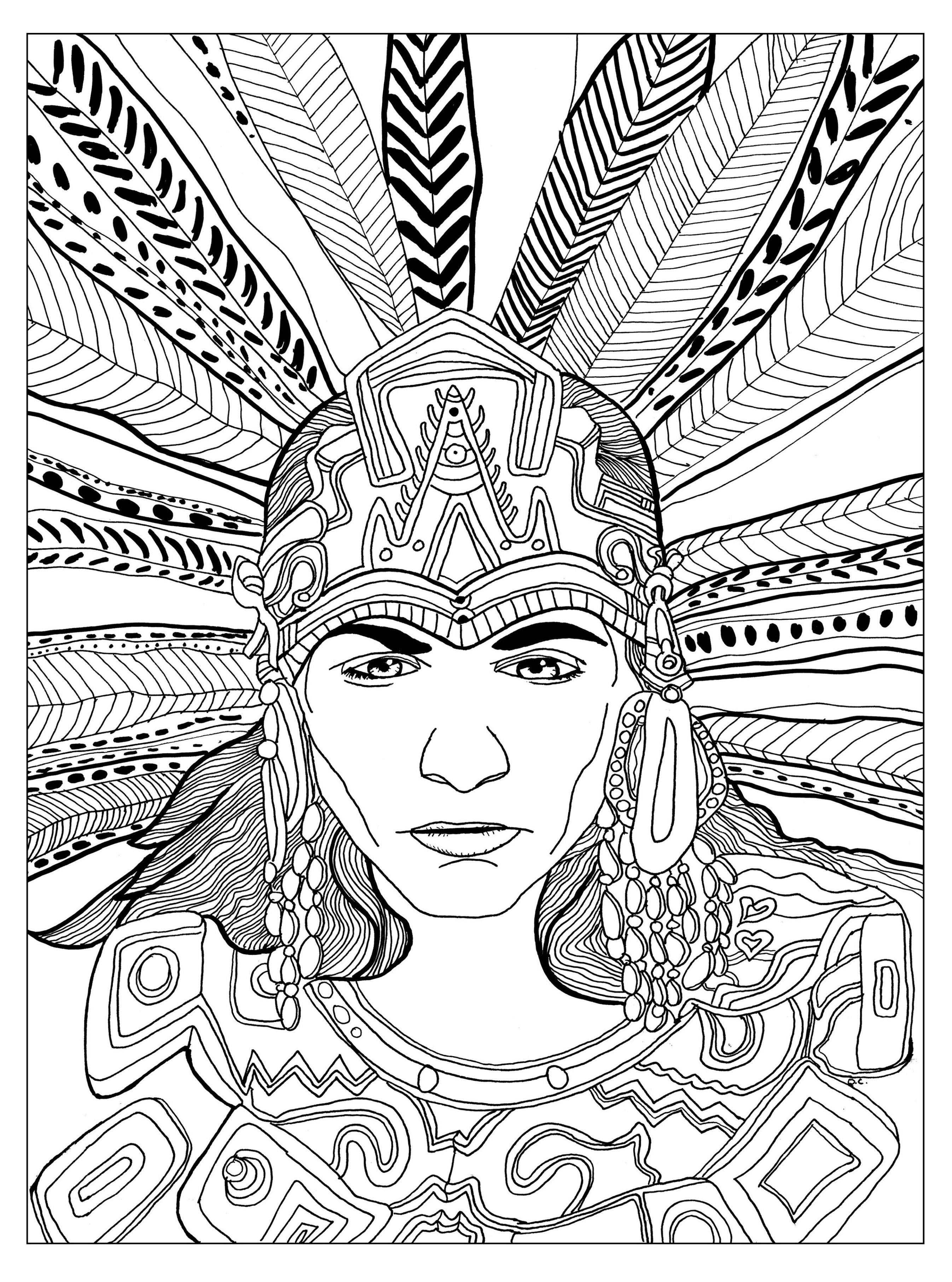 2692x3624 Free Coloring Page Coloring Adult Chief Mayan By Olivier. A Great
