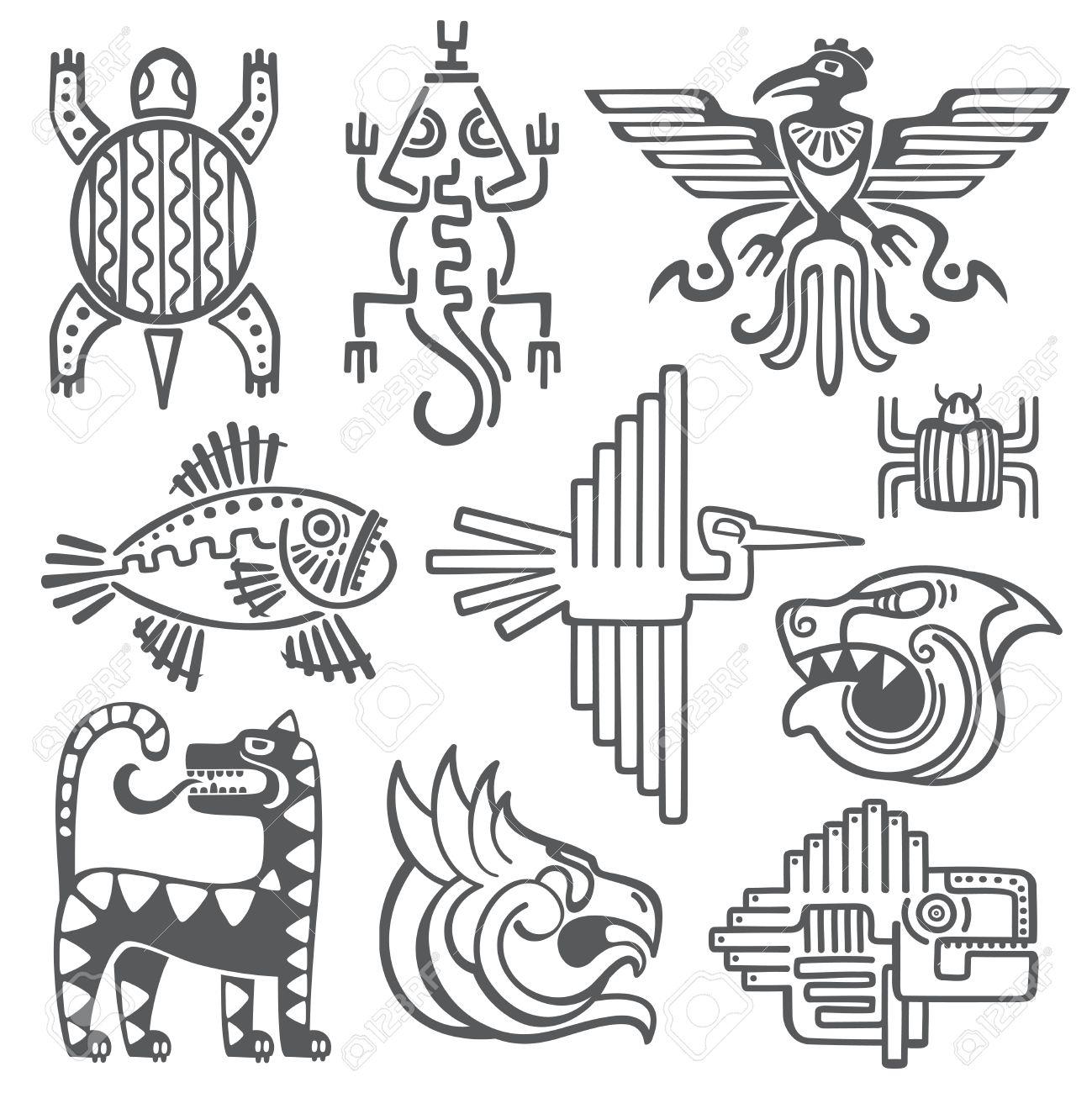 1299x1300 Historic Aztec, Inca Vector Symbols, Mayan Temple Pattern, Native