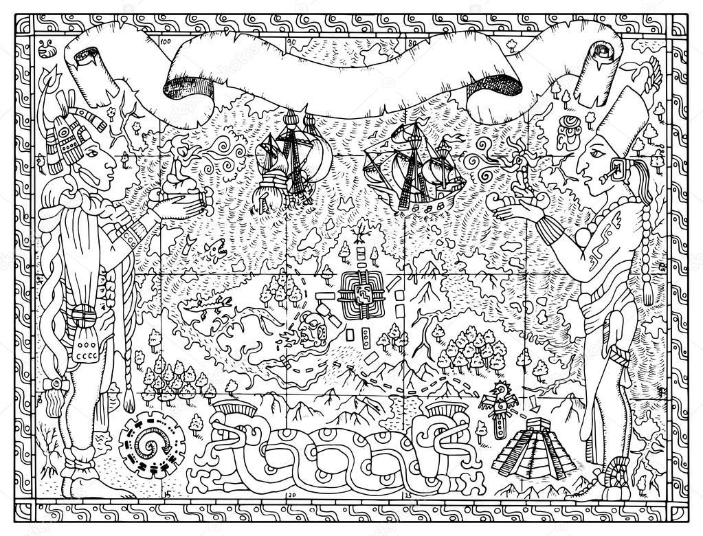 1023x780 Mayan, Aztec Or Pirate Map Stock Vector Samiramay