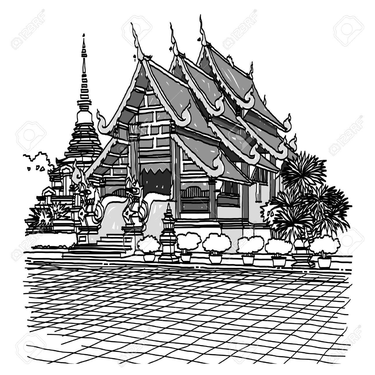 1300x1300 Thai Temple Clipart Black And White