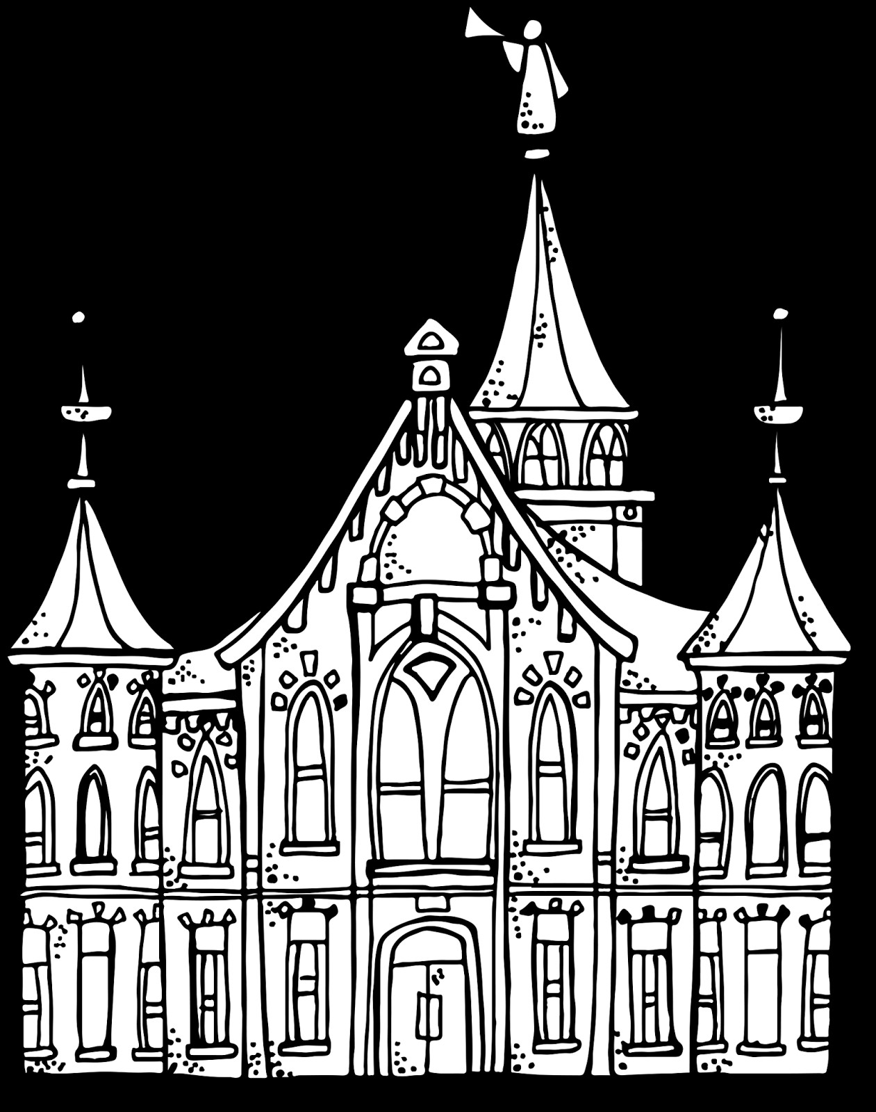 1261x1600 Los Angeles Temple Coloring Page Free Draw To Color