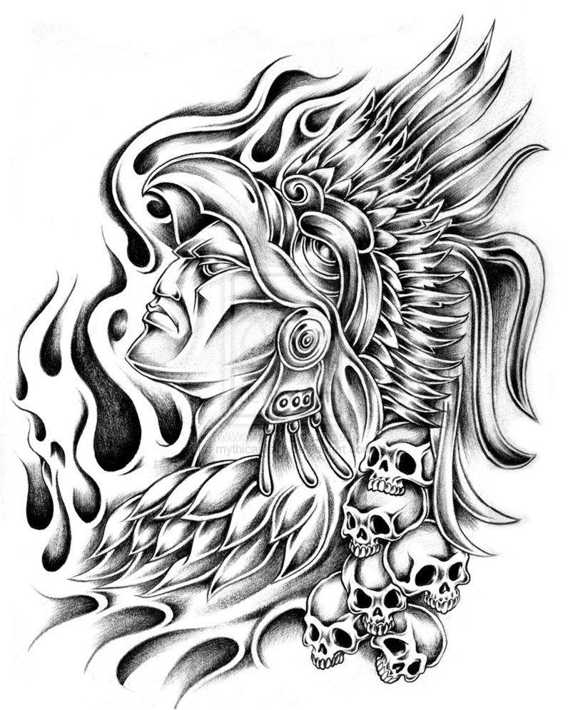 803x995 Aztec Warrior Tattoo Designs