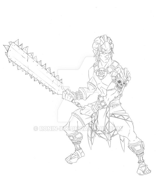 600x685 Aztec Warrior By Ronin Ink