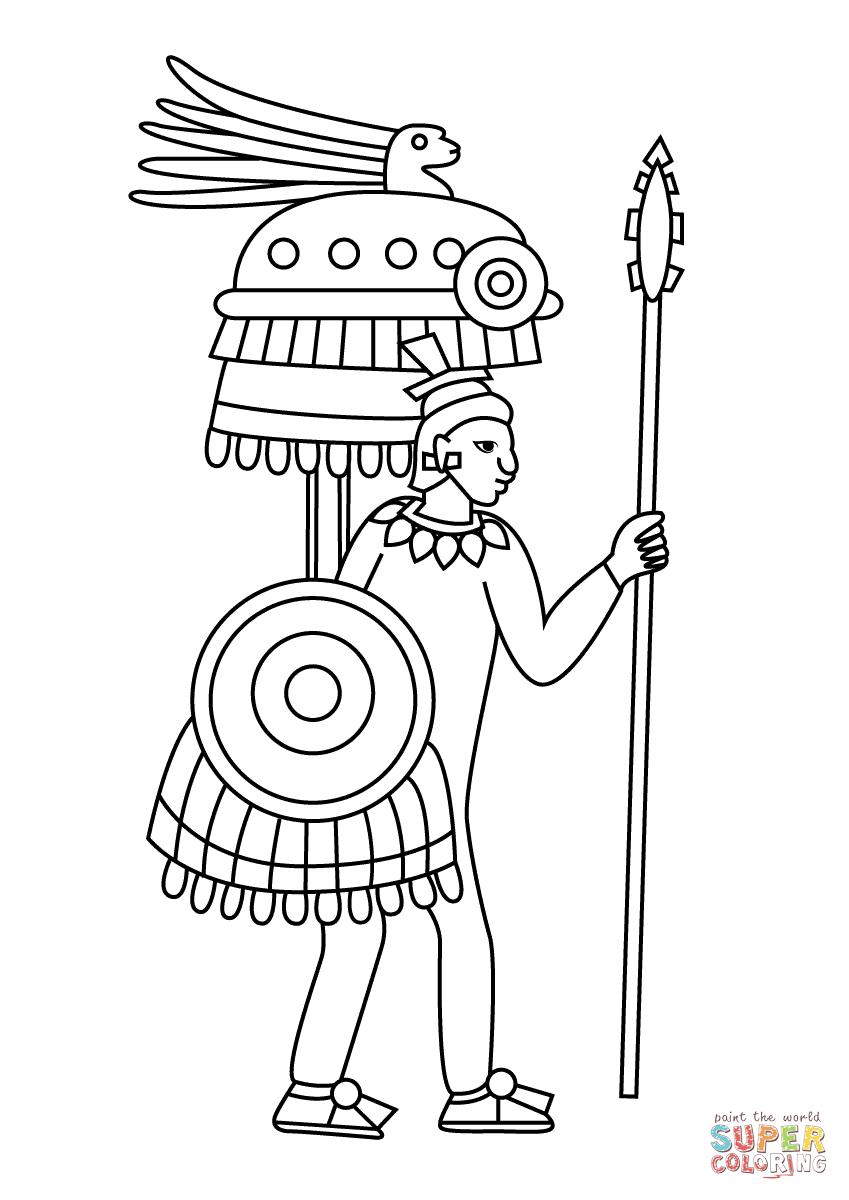 849x1200 Aztec Warrior Depiction In Codex Mendoza Coloring Page Free