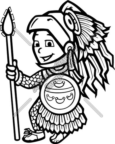 400x500 Aztec Warrior Mascot Child Clipart And Vectorart Sports Mascots