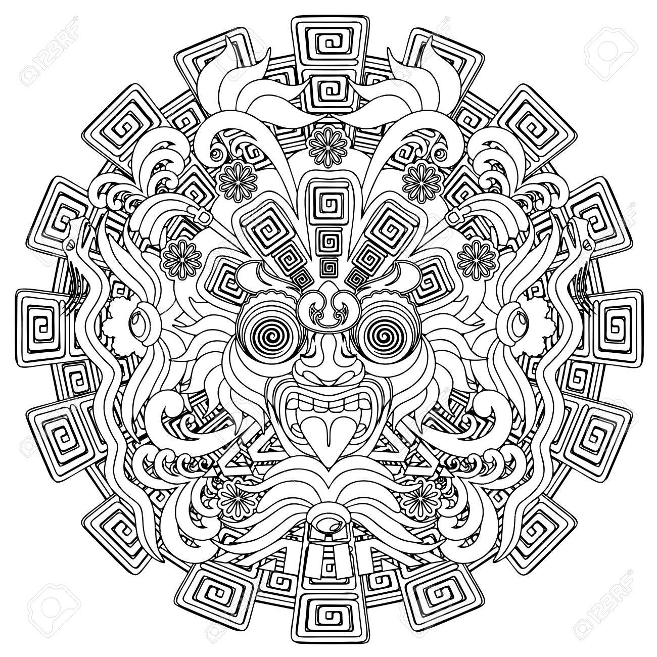 1300x1300 Aztec Warrior Mask Black Stroke Doodle Royalty Free Cliparts
