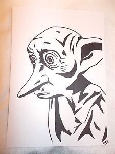 225x300 A4 Black Ink Marker Pen Sketch Drawing Dobby The House Elf