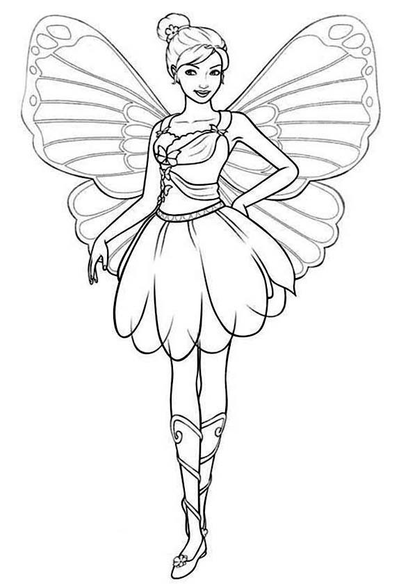 600x840 Barbie Mariposa Coloring Pages Page For Kids