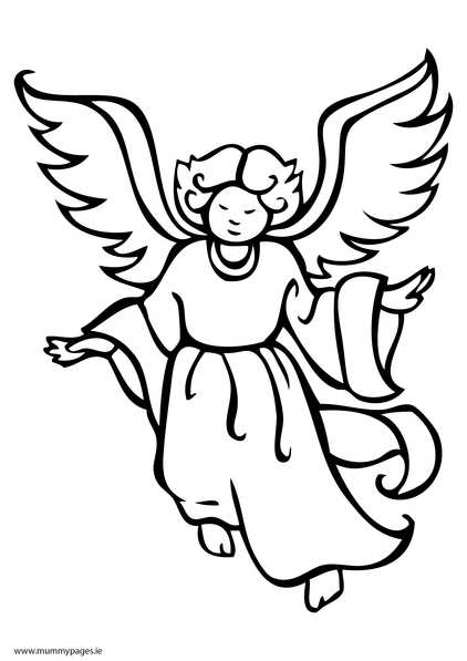 422x597 Christmas Angel Flying Colouring Page Mummypages.mummypages.ie
