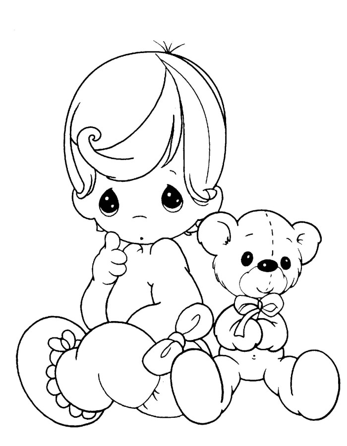 700x900 Precious Moments Baby And Teddy Bear Coloring Pages Inkleur