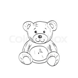 320x320 Teddy Bear Sketch. Drawing On A White Background Stock Vector