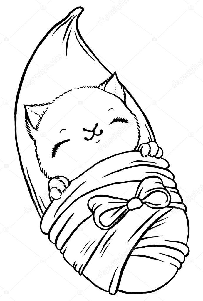 691x1023 Cute Baby Kitten Wrapped In Blanket Like Newborn Stock Vector