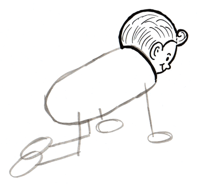 400x374 How To Draw A Crawling Baby With Cartooning Lesson