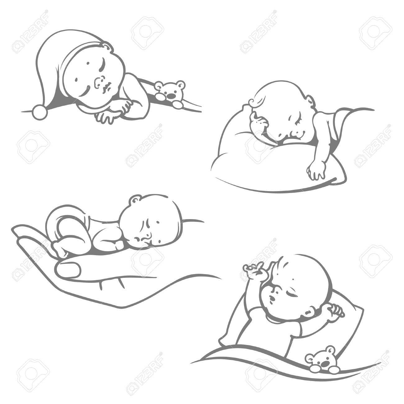 1300x1300 Set With Cute Little Baby Sleeping.children Lying On Pillow Under