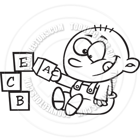 460x460 Cartoon Baby Playing With Alphabet Blocks (Black And White Line