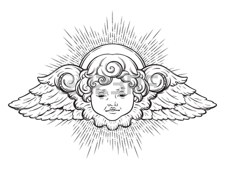450x338 Cherub Cute Winged Curly Smiling Baby Boy Angel With Rays