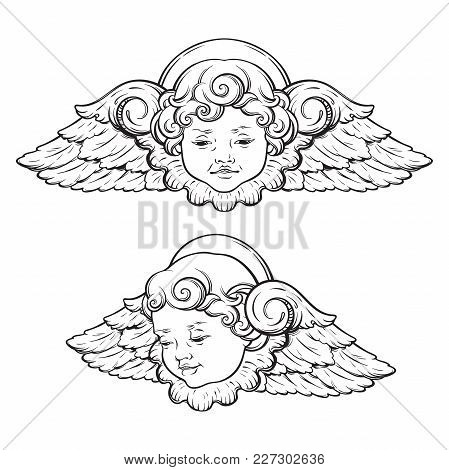 449x470 Cherub Cute Winged Curly Smiling Vector Amp Photo Bigstock