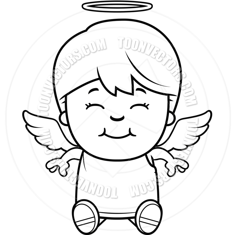 940x940 Angel Child Sitting (Black And White Line Art) By Cory Thoman