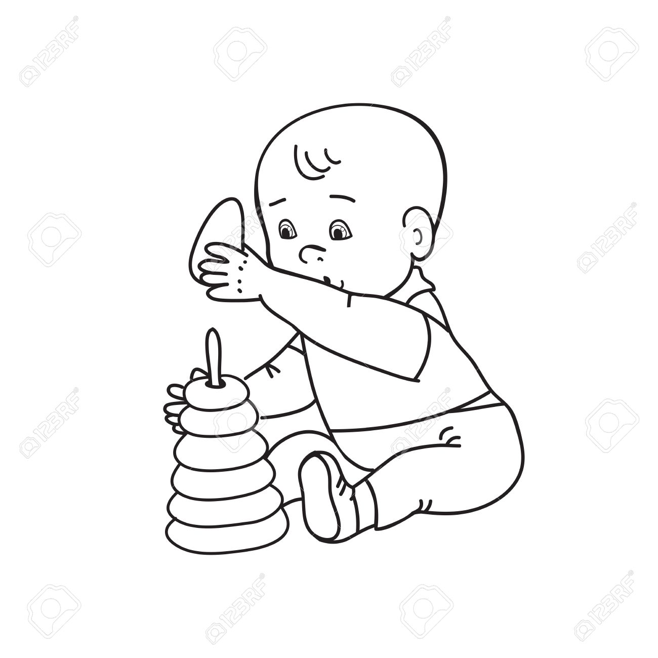 1300x1300 Little Lovely Baby Boy Playing With Toys. Kid Plays With Pyramid
