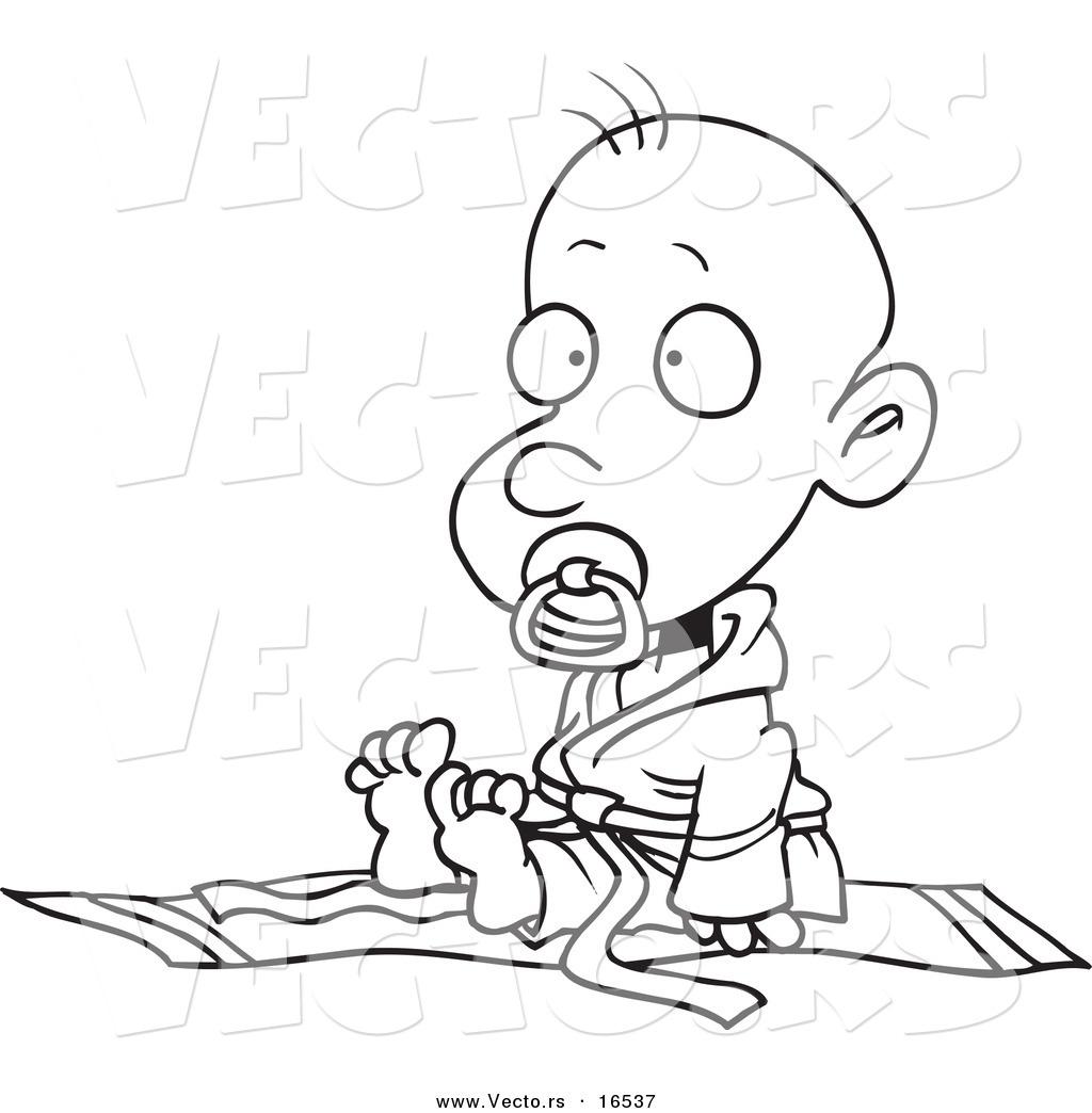 1024x1044 Vector Of A Cartoon Baby Boy In A Judoka Robe