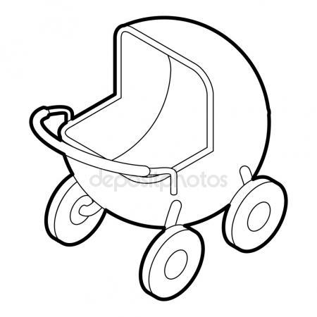 450x450 Baby Carriage. Vector Drawing Stock Vector Marinka