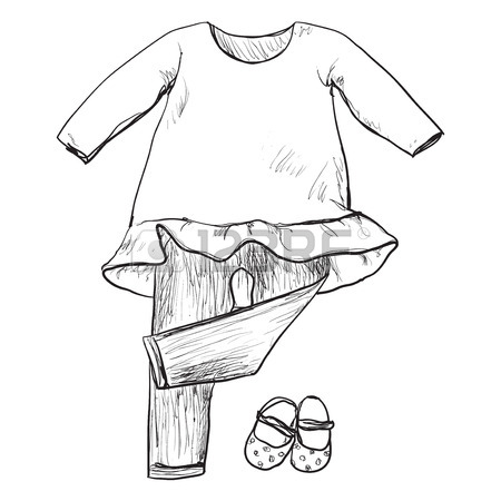450x450 Drawing Clothing For Little Girls. Clothes And Shoes Sketch