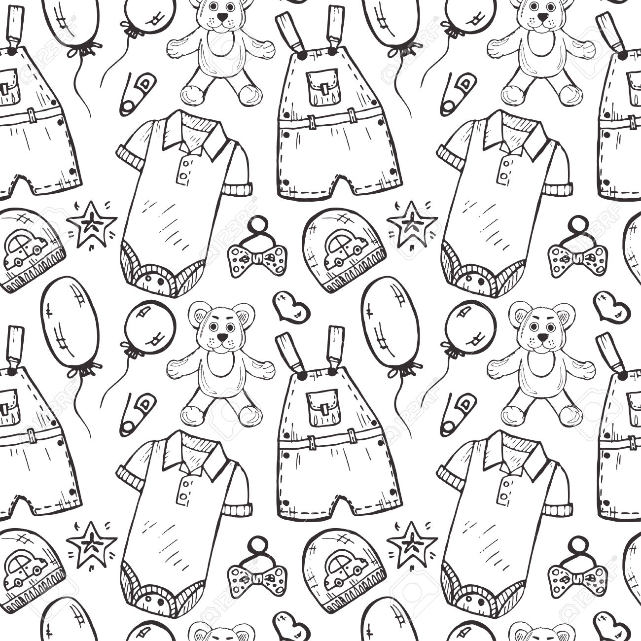 1300x1300 New Born Baby Images In Drawing Pattern Seamless Pattern With Cute