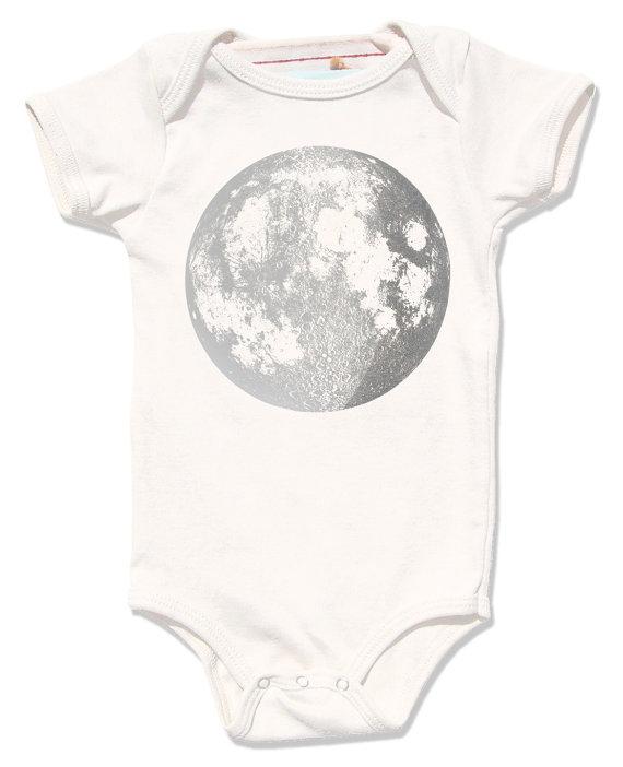 570x702 Organic Baby Clothes Baby Moon Onesie Moon Bodysuit Full