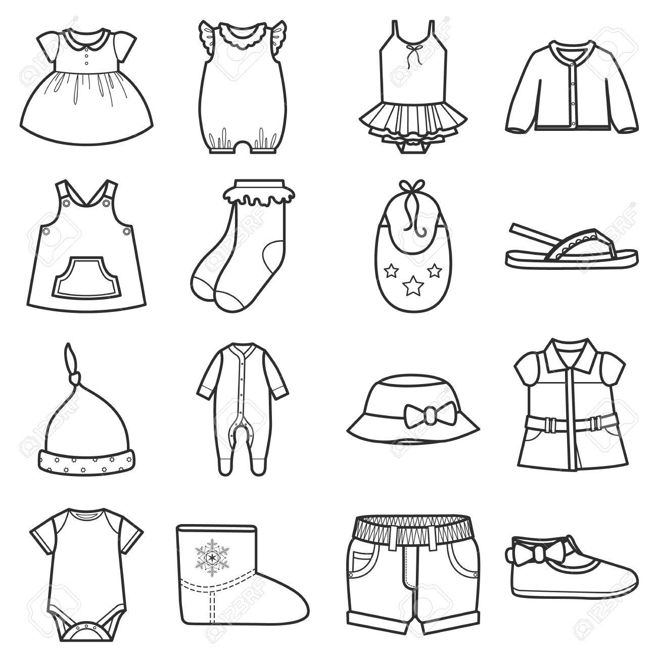 1300x1300 Baby Clothes Icons Set.clothing For Girl. Isolated Vector