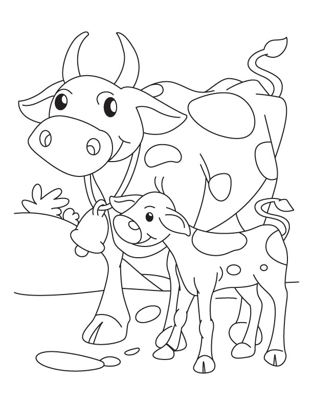 612x792 Cow Mother With Its Calf Coloring Pages Download Free