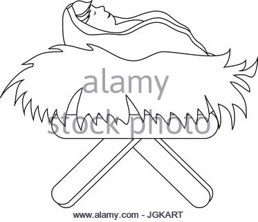 373x320 Baby Jesus In Straw Cradle Icon Vector Illustration Graphic Design